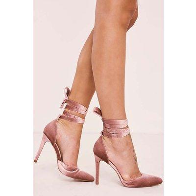 Pink Heels - Sindee Pink Velvet Tie Strap Heels
