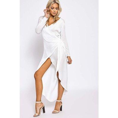White Dresses - Emmalyn White Silky Wrap Maxi Shirt Dress