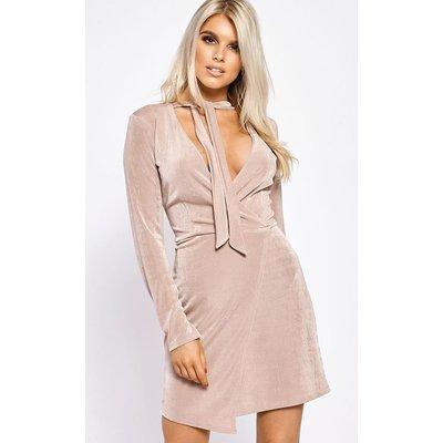 Nude Dresses - Tiffney Blush Wrap Front Slinky Dress
