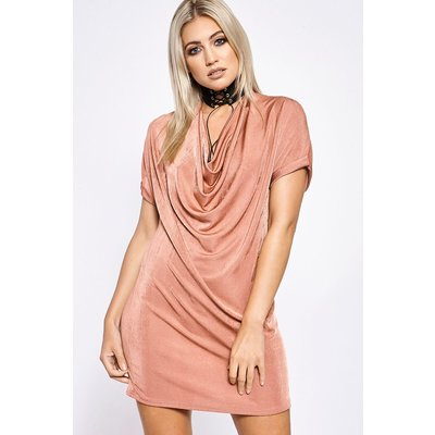 Rose Dresses - Gericka Rose Cowl Front Slinky Tee Dress
