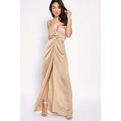 Camel Dresses - Binky Camel Silky Knot Front Maxi Dress