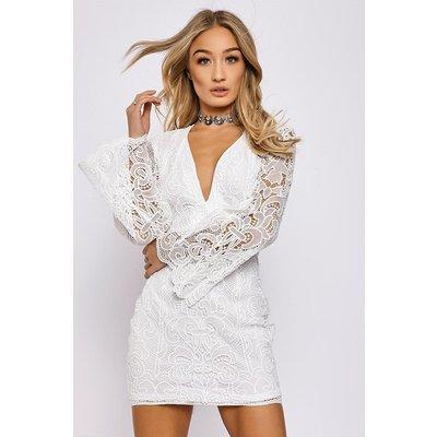 White Dresses - Brandie White Plunge Neck Crochet Lace Dress