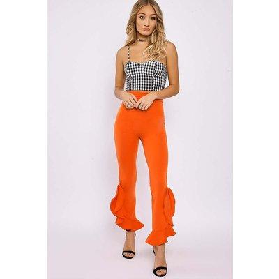 Orange Trousers - Jennabell Orange High Waisted Asymmetric Frill Hem Trousers