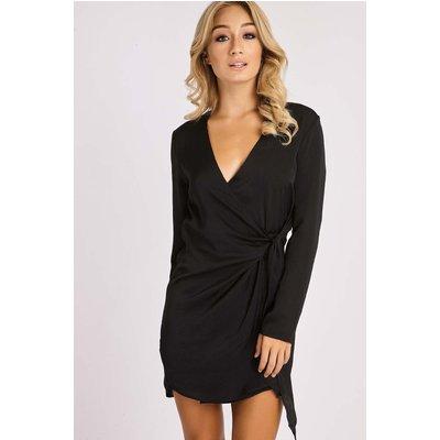 Black Dresses - Celestine Black Silky Wrap Shirt Dress