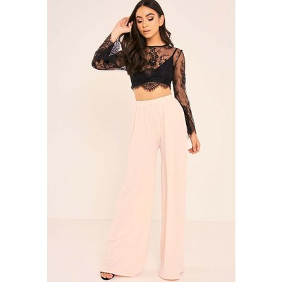Blush Trousers - Binky Blush High Waisted Palazzo Trousers