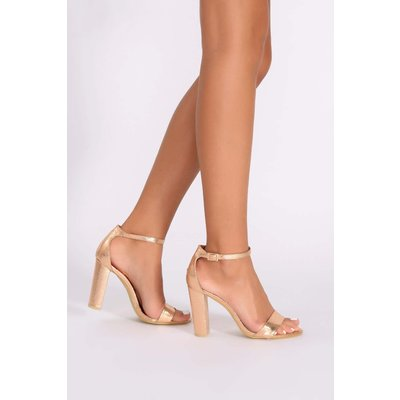 Rose Heels - Morgan Metallic Rose Gold Ankle Strap Heels