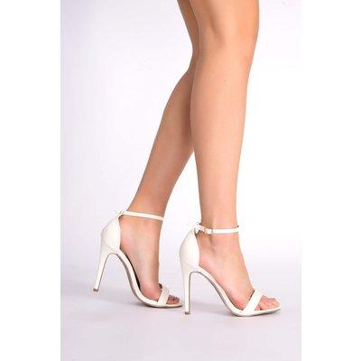 White Heels - Marney White Snakeskin Ankle Strap Heels