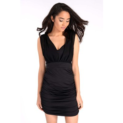Black Dresses - Danika Black Ruched Layered Dress