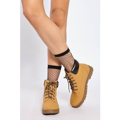 Tan Boots - Orianna Tan Lace Up Flat Chukka Ankle Boots