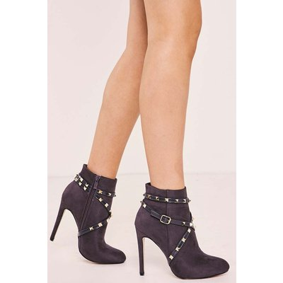 Grey Boots - Tanvi Grey Faux Suede Studded Heeled Ankle Boots