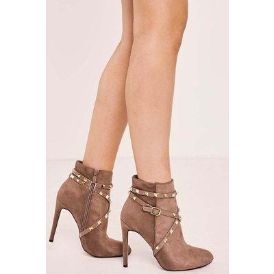 Mocha Boots - Tanvi Mocha Studded Heeled Ankle Boots