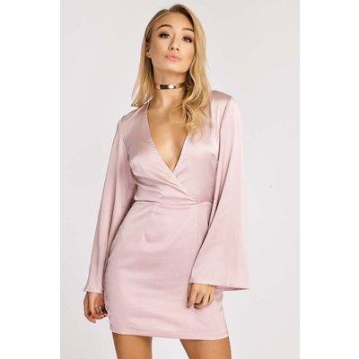 Blush Dresses - Elinore Blush Silky Plunge Front Dress