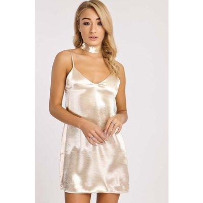 Champagne Dresses - Franky White Gold Metallic Satin Scarf Neck Slip Dress