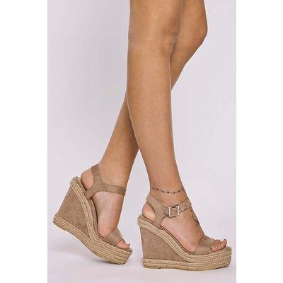 Mocha Wedges - Nadya Mocha Suede Ankle Strap Wedges