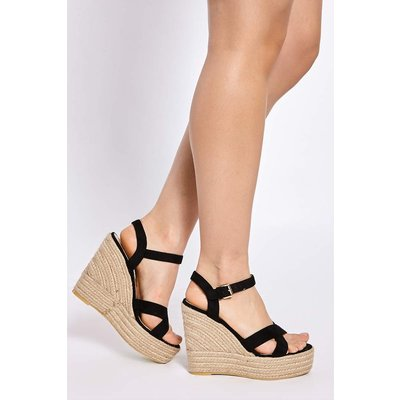 Black Wedges - Brady Black Faux Suede Cross Strap Wedges