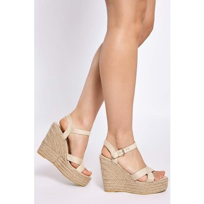 Cream Wedges - Brady Cream Faux Suede Cross Strap Wedges