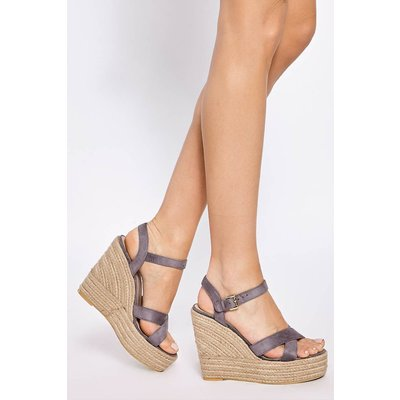Grey Wedges - Brady Grey Faux Suede Cross Strap Wedges