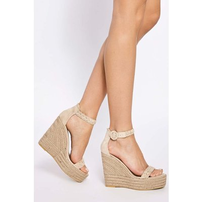 Cream Heels - Allerie Cream Plaited Ankle Suede Wedge Heel