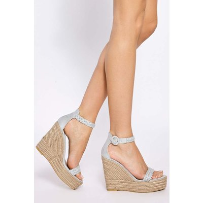 Grey Heels - Allerie Grey Plaited Ankle Suede Wedge Heel