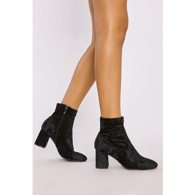 Black Boots - Idelle Black Crushed Velvet Block Heel Ankle Boots