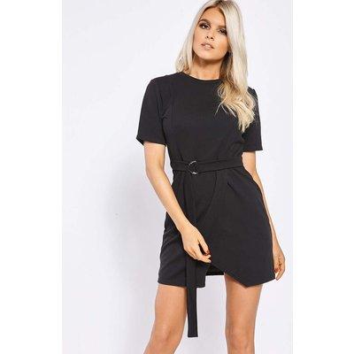 Black Dresses - Billie Faiers Black Wrap Front D Ring Dress