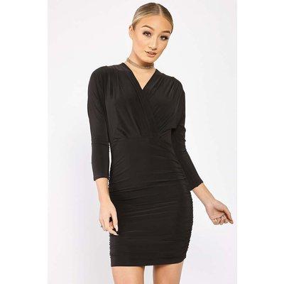 Black Dresses - Jasminda Black Wrap Slinky Dress