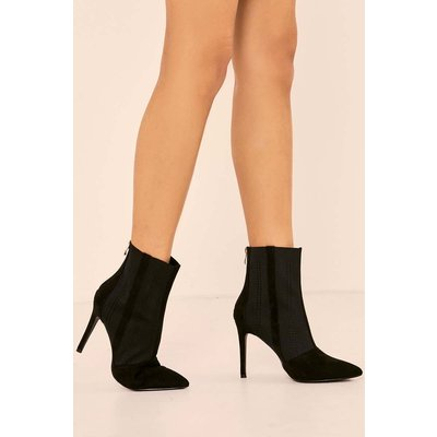 Black Boots - Kaily Black Faux Suede Stretch Insert Heeled Ankle Boot