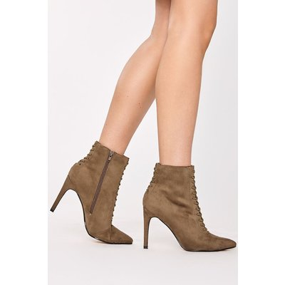 Khaki Boots - Klarice Khaki Faux Suede Lace Up Heeled Ankle Boots