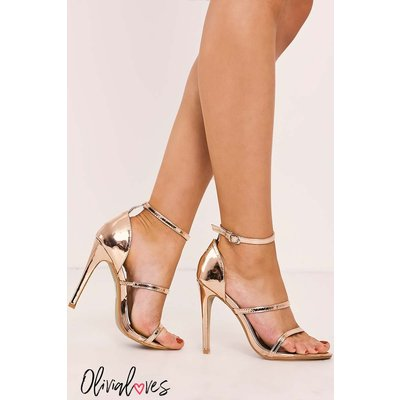 Rose Heels - Olivia Loves Rose Gold Strappy Heels