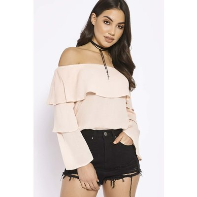 Pink Tops - Faye Pink Layered Frill Bardot Top