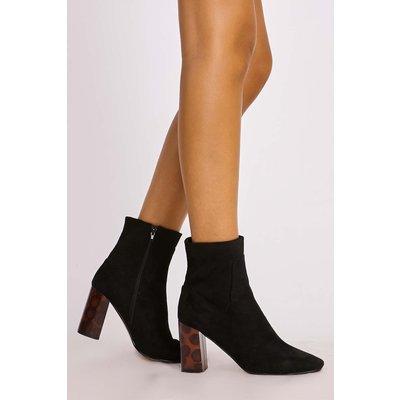 Black Boots - Logan Black Faux Suede Tortoiseshell Heel Ankle Boots