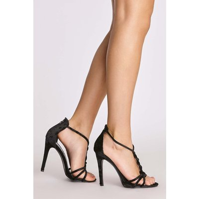 Black Heels - Lucilla Black Velvet Twisted Strappy Heels