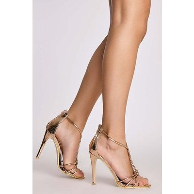 Rose /gold Heels - Lucilla Rose Gold Twisted Strappy Heels