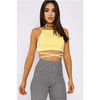 Yellow Tops - Amarae Yellow Tie Back Crop Top