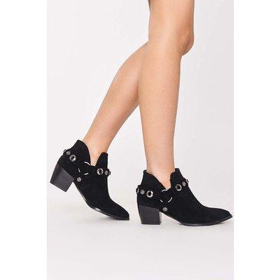 Black Boots - Malikah Black Faux Suede Harness Ankle Boots