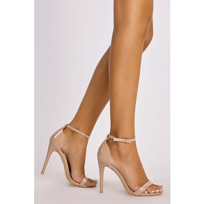Nude Heels - Marney Nude Patent Ankle Strap Heels
