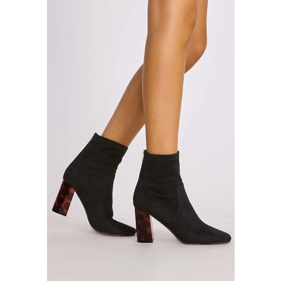 Black Boots - Melody Black Faux Suede Tortoiseshell Heel Ankle Boots