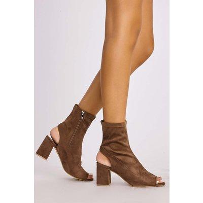 Mocha Boots - Minkie Mocha Suede Peeptoe Ankle Boots