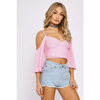 Pink Tops - Kaisha Pink Gingham Cold Shoulder Wrap Crop Top