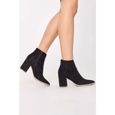 Black Boots - Pennie Black Faux Suede Block Heel Ankle Boots