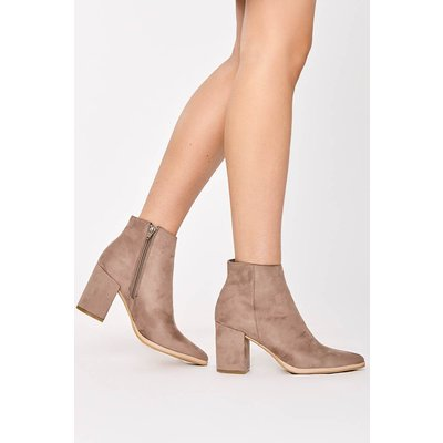 Taupe Boots - Pennie Taupe Faux Suede Block Heel Ankle Boots