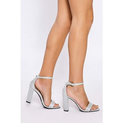 Grey Heels - Morgan Light Grey Faux Suede Ankle Strap Heels