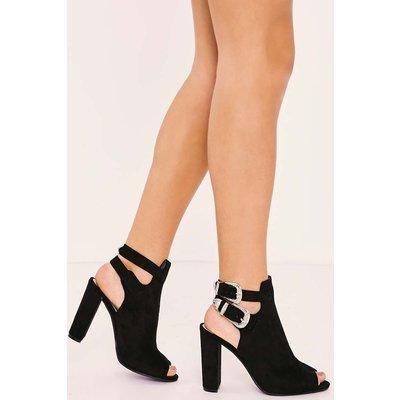 Black Heels - Canei Black Faux Suede Western Buckle Heels