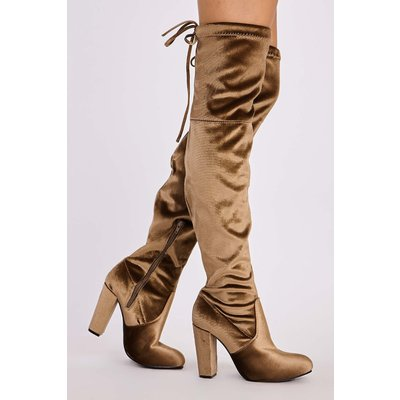 Bronze Boots - Remi Bronze Velvet Over the Knee Heeled Boots