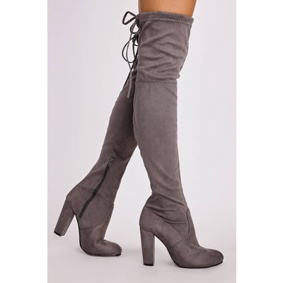 Grey Boots - Remi Grey Faux Suede Over the Knee Heeled Boots