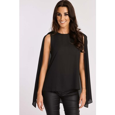 Black Tops - Roja Black Split Back Cape Top