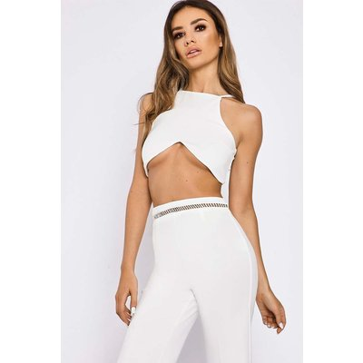 White Tops - Sarah Ashcroft White Cut Out Lace Up Crop Top