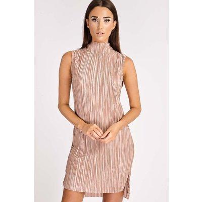 Bronze Dresses - Delina Bronze Crinkle High Neck Split Side Dress