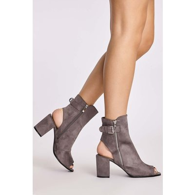 Grey Boots - Serin Grey Faux Suede Peeptoe Ankle Boots