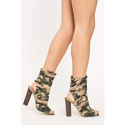 Khaki Boots - Sharlise Camo Khaki Open Toe Heeled Ankle Boots